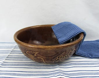"Embossed fruit pattern 9"" brown stoneware mixing bowl, vintage USA pottery"
