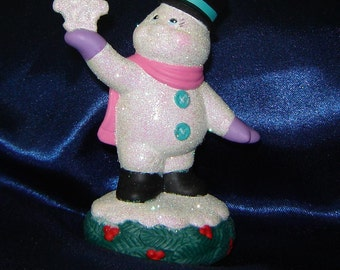 Standing Ceramic Snowman with Pink Scarf - Christmas Decoration - Snowman Decoration - Winter Decor
