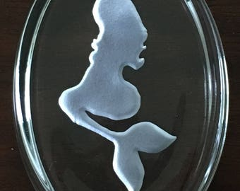 Mermaid etched oval glass paperweight