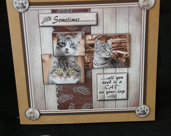 3d Cats Decoupage Card, Cats Birthday Card, Grey & White Cats Card, Cat Lover Card, Any Occasion Card, Birthday Card, Handmade in UK,