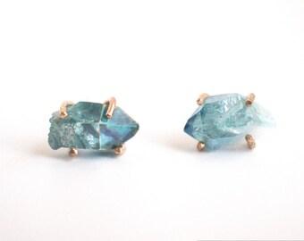 large aqua aura quartz stud earrings, blue quartz point, 14k gold fill, mismatched druzy raw gem crystal, chunky gem