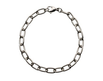 "Rectangular-Loop Stainless Bracelet  for ""Snap-On"" Charms"