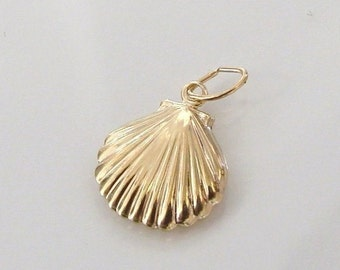 5pcs 14K Gold Filled Scallop Shell Charm, Made in USA, GC6