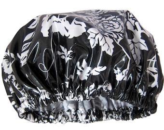 Shower Cap Women's Shower Hat Spa Gift Waterproof Hair Cap Handmade In Australia Monochrome Floral Laminated Cotton Cap