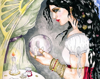 Fortune Teller with Crystal Ball Print Pagan Mystic Magickal Fine Art Pen and Ink Watercolor Illustration Fantasy Altar Decor Seer Witch