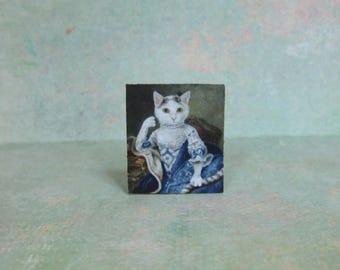 Dollhouse Miniature White Cat Portrait Stand Up Art Print