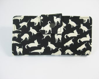 Wallet, Cat Wallet, Ladies Wallet, Handmade BiFold Clutch, Black & White Wallet