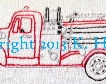 Fire Truck Hand Embroidery Pattern, Fire Station, First Responder, Truck, Antique, Fireman, Fire Engine, PDF