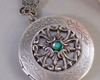 Celtic Birthstone,Locket,Birthstone, Antique Locket,Silver Locket,Heart,Celtic, Irish,Lucky,Shamrock,Birthstone,Emerald valleygirldesigns
