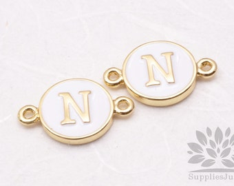 """IP004-G-N// Gold Plated White Epoxy Initial """"N"""" Round Pendant Connector, 2 pcs"""