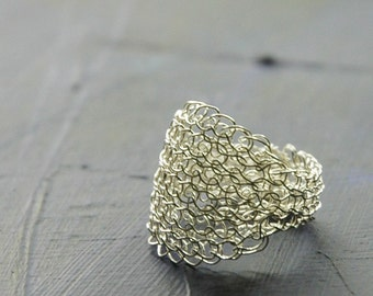 Silver Crochet Ring Handmade Wire Ring Knitted White Ring Textile Jewellery