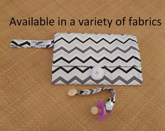 Nappy wallet /diaper clutch with waterproof change mat / change pad - three  pockets -Mini Chevron Cotton Duck-Silver