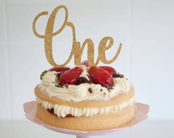 One Cake Topper, One birthday topper, Gold Cake topper
