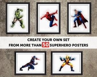 Superhero Printables,  Superhero Art, Superhero Printable Wall Art, Superhero Nursery Art, Watercolor Art Print Set, Watercolor Superhero