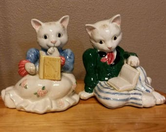 """FITZ and FLOYD """"Kittens Of Knightsbridge"""" Bookends -Weighted Cats 1989 Retired"""