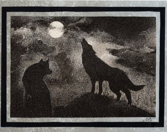 Natural sand painting 18x24 cm Wolves in the night