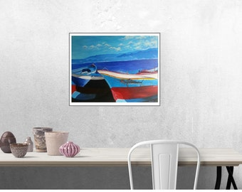 Fishing boats - Giclee print from original painting