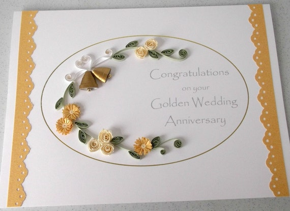 Quilled anniversary card handmade gold white flowers