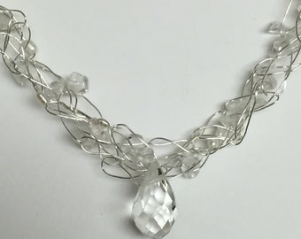 Crochet Wire Crystal And Fresh Water Pearl 20 Inch Silver Necklace