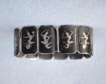 Sterling Silver Saim Niello Panel Bracelet Vintage