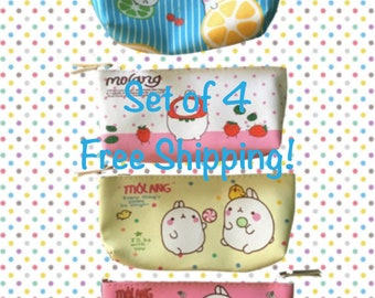 Molang Kawaii Pencil Cases/Set of4/School Supplies/Makeup Bag/Free Shipping!