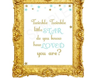 Twinkle Twinkle Little Star Do You Know How Loved You Are, Baby Boy Nursery Decor, Printable Wall Art, Baby Wall Decor, Blue Gold Stars STBG