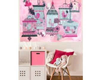 French birdies wall decals