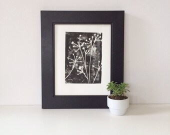 Hand Pulled Summer Decor Relief PRINT Black and White Flowers 8 x 10 Floral Art