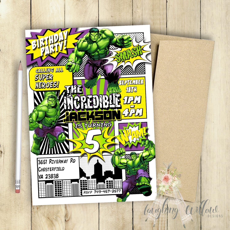 Incredible Hulk Invitation Incredible Hulk Birthday Party # Muebles Agustin Moana