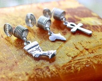 Ankh Loc Jewelry, Silver Nefertiti Dread Bead, Africa Dreadlock Bead, Jewelry for Dreads, Loc Accessories, Braid Jewelry For Hair