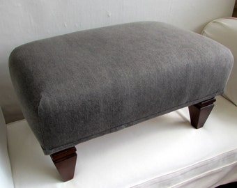 GRANITE  industrial chic stonewashed gray denim ottoman/bench/seating furniture
