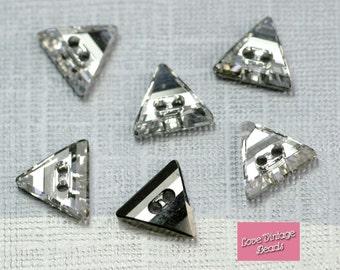 2x Swarovski Crystal 3038 Crystal Foiled Triangle Triangular Button 2 Holes 11mm