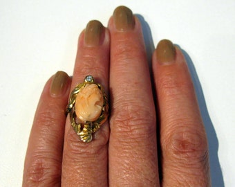 Antique Coral Ring, Victorian Cameo Ring, Vintage Pink Angel Skin Hand Carved, Diamond Art Nouveau 1910s