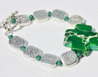 Malachite Cross Bracelet