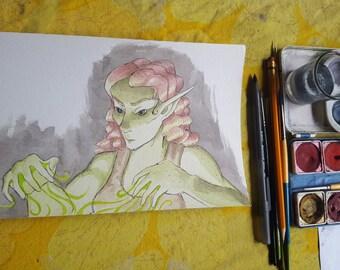 Green Magics - Original Art Watercolor Sketch of Comic Illustration