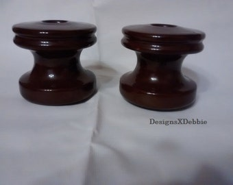 CERAMIC HIGH VOLTAGE insulators, set of 2, vintage, unmarked, #10, brown, industrial, collectibles