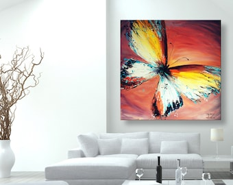 "oil painting, modern art, ""Yellow Butterfly"", canvas art, paintings on canvas, wall art, painting, abstract painting, wall painting, art"