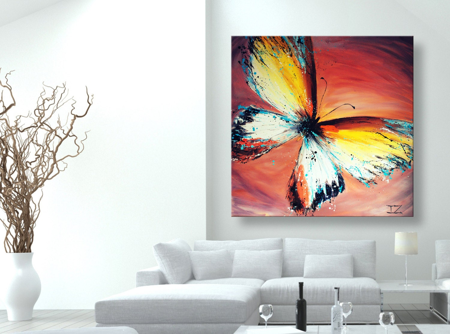 oil painting modern art Yellow Butterfly canvas