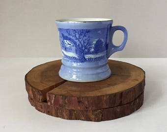 Currier and Ives Shaving Mug, Vintage Milk Glass Mug, The Homestead in Winter, Collectible Shaving Mug, Blue Graphics