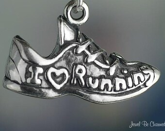 Sterling Silver I Love Running Charm Shoe Sneaker Runners Solid .925