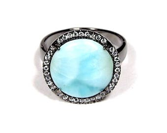 Black Rhodium Plated Over 925 Sterling Silver w/ High Quality Genuine AAA Dominican 14mm Larimar Stone Ring size 7,9