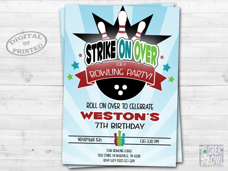 Bowling Invitation Bowling Party Invitation Bowling Birthday