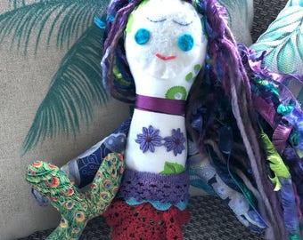 Mermaid Fabric Doll, Mermaid Softie, Handmade Doll DOLL1144