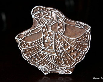 REDUCED Hand Carved Indian Wood Textile Stamp Block- Indian Gypsy Dancer