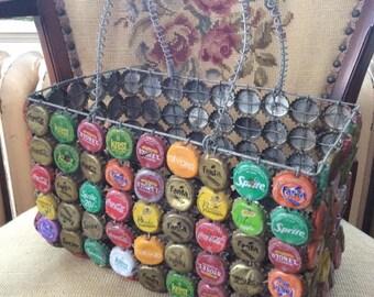 Vintage 1970s 1980s Basket Handbag Soda Bottle Caps Wire Handmade Arts Crafts Coca Cola Fanta Sprite Novida Krest Stoney Tangawizi & More