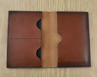 Leather Passport Cover & Wallet   Passport Holder   Full Grain Italian Leather   Smoked Chestnut   Handmade   Made in the USA