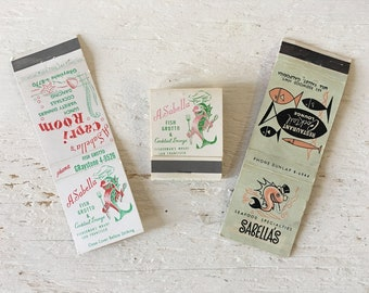 Vintage Sabella's & A. Sabella Restaurant Matchbooks - Mid Century Modern Design, Restaurant Memorabilia, Advertising Collectible