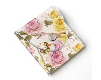 Vinyl Coin Purse - Vintage Roses 2/ floral, bird, wallet, vegan, change, snap, small, little, pocket wallet, gift, flowers, pretty, blue