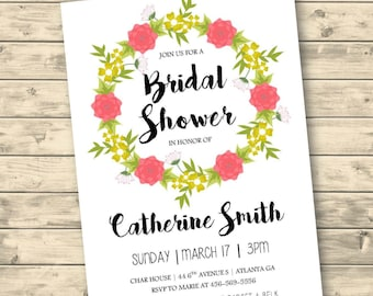 Floral Bridal Shower Invitation DIGITAL