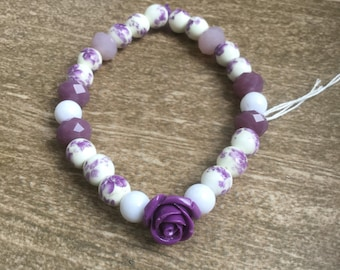 Sparkly purple and white floral stretch bracelet with single rose